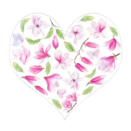 Magnolia and butterfly watercolor hand drawn raster in frame set. Blooming flowers line frame border collection. Blossoming pink, purple flowers decor. Creative outlined floral isolated design element Stockfoto