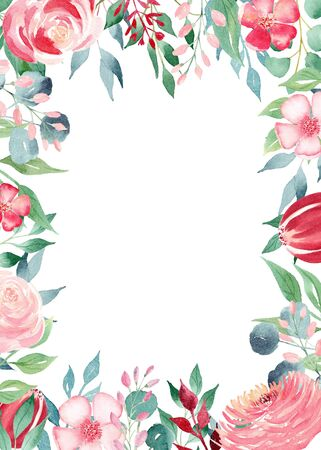 Spring flowers watercolor hand drawn raster frame template. Blooming flowers border with copyspace. Pink and crimson petals greeting card. Wedding invitation isolated design element Stock Photo