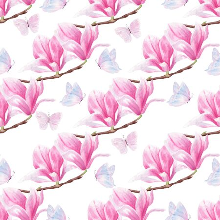 Flowers and butterflies hand drawn watercolor seamless pattern. Floral design raster texture. Colorful blossom on white background. Natural beautiful pastel wallpaper design