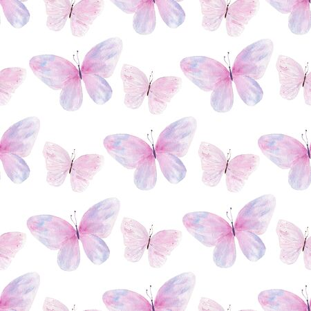 Flying butterflies hand drawn watercolor seamless pattern. Springtime wildlife raster texture. Gentle, cute, clean illustration on white background. Purple, pink gradient wings wrapping paper design