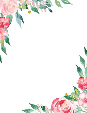 Petals and leaves watercolor hand drawn raster frame template. Blooming flowers in corners with copy space. Blossoming greeting postcard. Roses and cherry blossoms isolated design elements