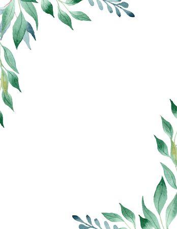 Grüne Blätter Aquarell handgezeichnete Rasterrahmenschablone. Olivenzweigecken mit Kopienraum. Blumenillustrationspostkarte. Hochzeitseinladung mit natürlichen Elementen isolierten Design Standard-Bild
