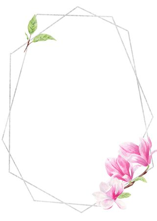 Floral branch watercolor hand drawn raster frame template. Blooming magnolia wire border for text. Photo outline flower head decor. Blossom themed wedding invitation isolated design element Stockfoto