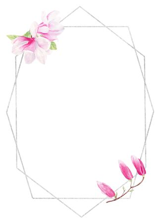 Blossoming flower buds watercolor hand drawn raster frame template. Magnolia flower wire copy space. Floral photo outline decor. Springtime event invitation isolated design element