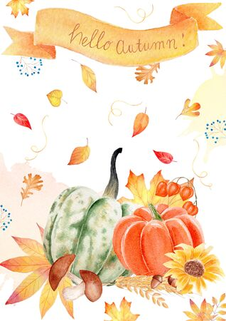 Hello autumn watercolor raster banner, greeting card template. Fall season watercolor poster, postcard layout. Farm foods and foliage hand drawn illustration with lettering. Vegetables and leaves