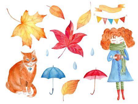 Autumn season decorative symbols watercolor raster illustrations set. Umbrellas, ginger cat and little girl holding cup. Fall attribute paintings pack. Rain drops, orange leaves, ribbon and bunting