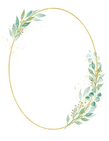 Decorative oval shaped frame watercolor raster illustration. Geometrical thin border with copy space. Floral invitation, greeting card, postcard watercolor design element. Gold ellipse with foliage 免版税图像