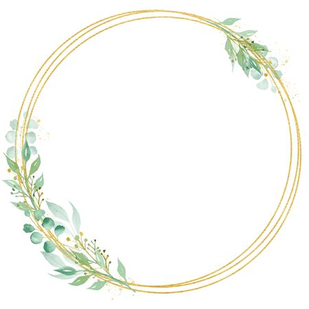 Decorative circle shaped frame watercolor raster illustration. Round thin border with copy space. Floral invitation, greeting card, postcard watercolor design element. Gold line with foliage