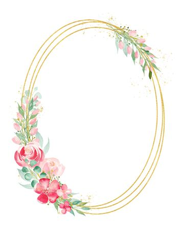 Floral branch watercolor hand drawn raster frame template. Magnolia and orchid greeting card decor. Summer greenery, flowers on wire with copyspace. Wedding invitation card isolated design element Stock Photo - 132119902