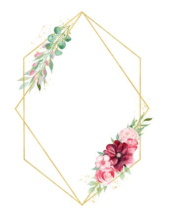 Flowers and leaves watercolor hand drawn raster frame template. Blooming orchids and magnolia greeting card decor. Petals and twigs on wire with copyspace. Wedding invitation isolated design element Stock Photo - 132118997