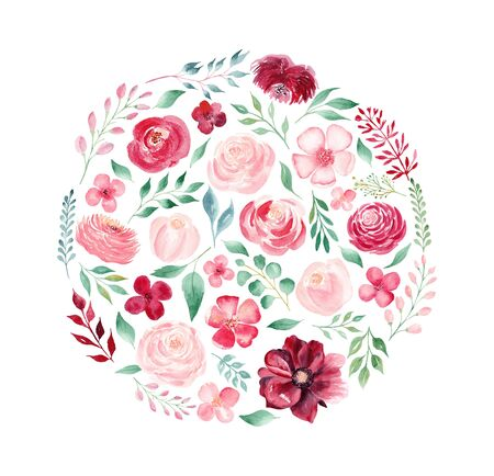 Flowers and leaves watercolor hand drawn raster round illustration. Blossoming twigs, peonies, chrysanthemums, roses. Blooming beautiful pink plants. Creative vintage floral isolated design element Stock Photo