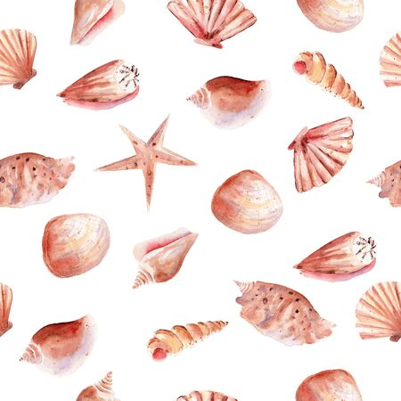 Marine seashell and starfish seamless watercolor raster pattern. Undersea objects, ocean life decorative background. Tropical mollusk, exotic nature wrapping paper, wallpaper textile design Reklamní fotografie - 134035850