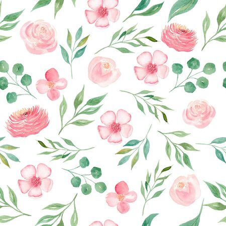 Blooming seasonal pink flowers seamless watercolor raster pattern. Orchid, chrysanthemum petals and green leaves decorative background. Flourishing plants wrapping paper, wallpaper textile design Banco de Imagens