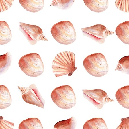 Tropical underwater life, seashell seamless watercolor raster pattern. Marine aquarium objects decorative background. Exotic mollusk, ocean nature wrapping paper, wallpaper textile design Reklamní fotografie - 134035848