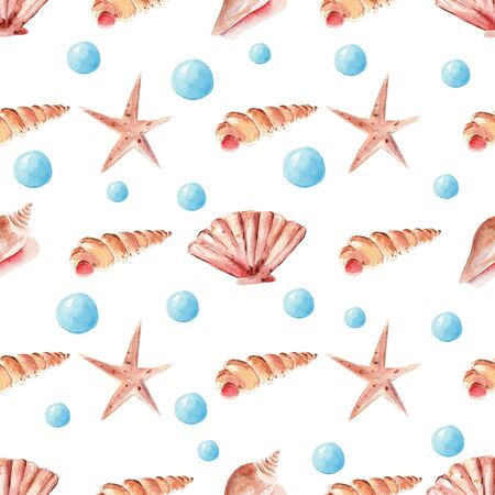 Marine pearls, seashell and starfish seamless watercolor raster pattern. Underwater life objects decorative background. Tropical mollusk, precious gem wrapping paper, wallpaper textile design Reklamní fotografie - 134035886