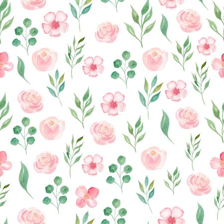 Summer bloomy flowers and leaves seamless watercolor raster pattern. Orchid and peony petals decorative background. Flourishing seasonal plants wrapping paper, wallpaper textile design Reklamní fotografie - 134035905