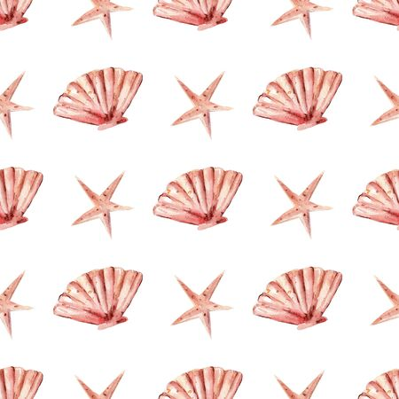 Tropical seashell and starfish seamless watercolor raster pattern. Aquatic objects, underwater life decorative background. Marine mollusk, exotic ocean nature wrapping paper, wallpaper textile design