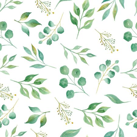 Tree twigs with leaves watercolor raster seamless pattern. Green leafage aquarelle illustration. Fresh branches decorative texture. Minimalist botanical background. Wallpaper, wrapping paper design