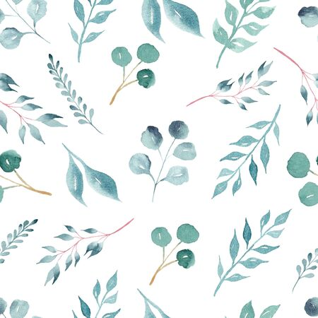 Green foliage on branches watercolor raster seamless pattern. Fresh leaves aquarelle illustration. Decorative herbage texture. Botanical, eco backdrop. Greenery wallpaper, wrapping paper design Banco de Imagens