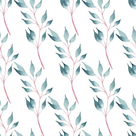 Twigs with leaves hand drawn watercolor raster seamless pattern