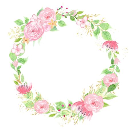 Pink flower wreath watercolor hand drawn raster frame. Circular floral border with copyspace. Creative greeting card. Springtime blossoms aquarelle illustration. Buds and foliage design element