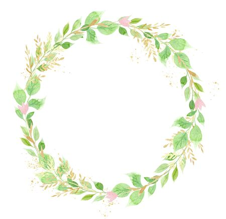Circlet of leaves and flowers hand drawn watercolor raster frame. Round botanical wreath with copyspace. Vintage floral greeting card. Summertime foliage aquarelle border. Eco design element Banco de Imagens