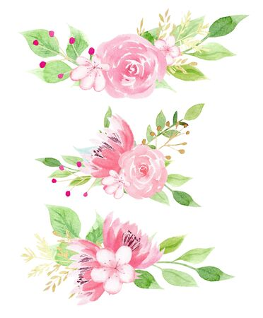 Lovely flowers with foliage watercolor raster illustration set. Pink blossoms with green leaves aquarelle drawing collection. Botanical design element. Summertime buds isolated on white background Banco de Imagens