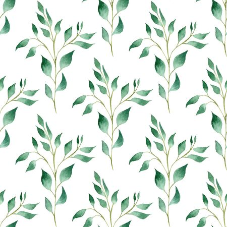 Green springs hand drawn watercolor raster seamless pattern. Forest foliage aquarelle illustration. Branches with leaves texture. Beautiful vegetation background. Eco wallpaper, wrapping paper design
