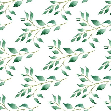 Green tree branches watercolor hand drawn raster seamless pattern. Summer foliage aquarelle illustration. Twigs with leaves decorative texture. Botanical background. Wallpaper, wrapping paper design