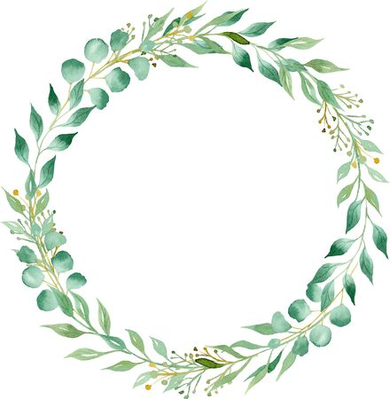 Circular frame with green foliage hand drawn watercolor raster illustration. Round botanical wreath with copyspace. Creative aquarelle greeting card with leafage. Herbage postcard design element