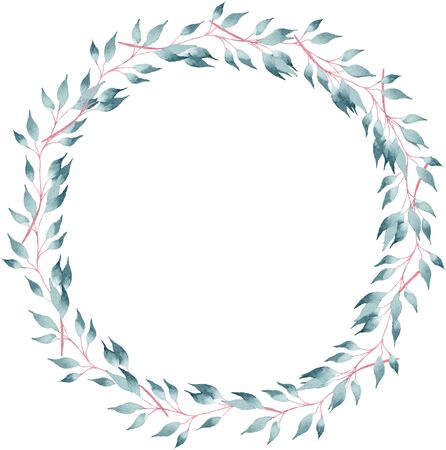 Round shaped botanical frame hand drawn watercolor raster illustration. Decorative circular floral wreath with space for text. Creative greeting card, minimalistic postcard aquarelle design element