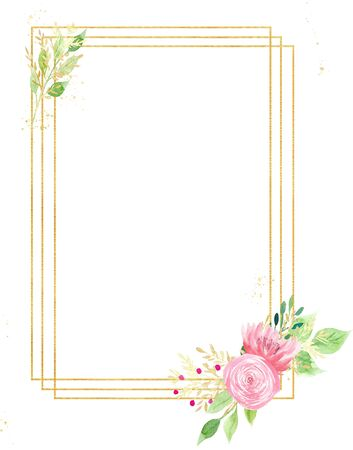 Beautiful flowers and foliage watercolor hand drawn raster frame. Aquarelle Valentine greeting card idea. Pink blossoms on golden wire with copyspace. Wedding invitation design element