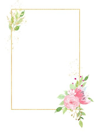 Golden frame with beautiful flowers watercolor hand drawn raster illustration. Valentine greeting card with aquarelle blossoms. Wedding invitation design element isolated on white background