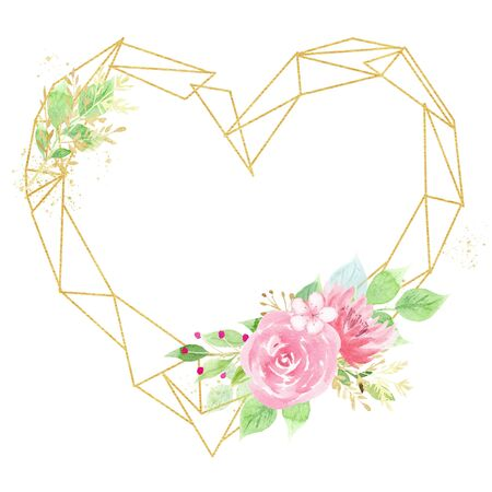Heart shaped frame with beautiful flowers watercolor hand drawn raster illustration. Festive greeting card with aquarelle blossoms. Wedding invitation decor. Floral design element isolated on white
