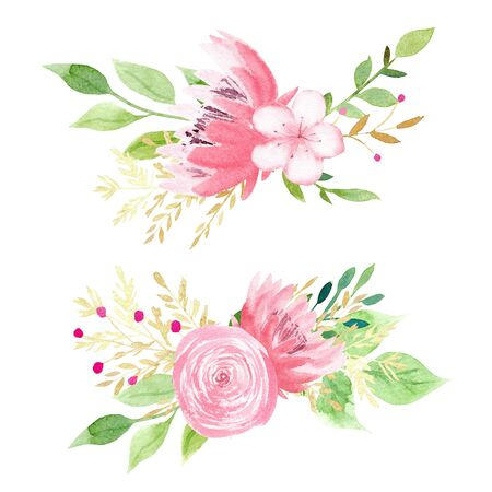 Beautiful pink flowers watercolor hand drawn raster illustration set. Rose, peony, forget me not aquarelle painting set. Creative floral design, aquarelle blossoms with leaves. Romantic spring decor Stock Photo