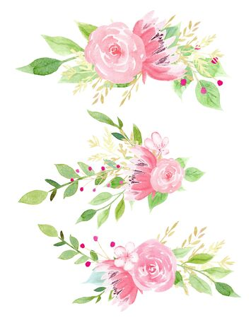 Fresh flowers watercolor hand drawn raster illustration set. Pink rose, forget me not and peony aquarelle drawing collection. Beautiful blossoms with foliage isolated on white background