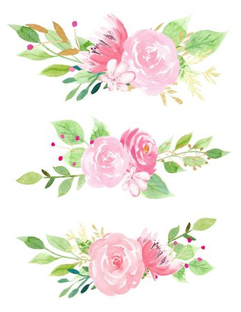 Pink blossoms with leaves watercolor raster illustration set. Hand drawn rose, lotus and sakura painting bundle. Aquarelle botanical drawing pack. Romantic flowers with leafage isolated on white
