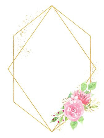 Watercolor hand drawn raster frame with beautiful flowers. Pink blossoms and golden wire with copyspace. Summertime blossoms greeting card design idea. Wedding invitation card isolated on white