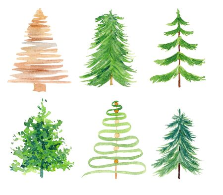 Fir simple aquarelle hand drawn illustrations set. Coniferous trees watercolor drawings pack. Minimal forest items, green and brown pine trees collection isolated on white background