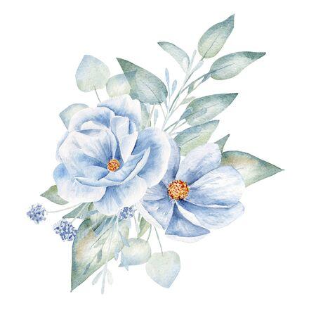 Blaue Blumen und Blätter handgezeichnete Aquarellillustration. Botanische Komposition, Blumenstraußartikel. Dekorative Flachs-Aquarell-Zeichnung. Blühen Sie Ansteckblume isoliert auf weißem Hintergrund
