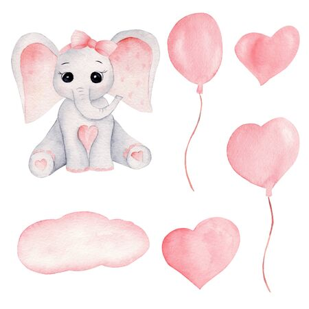 Baby elephant and pink balloons hand drawn watercolor illustrations set. Little grey elephant calf with big pink ears and bow. Childish aquarelle drawing, birthday party, baby shower decoration Stock Photo