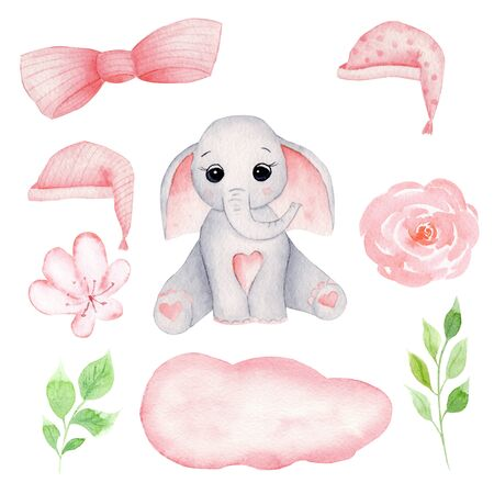 Cute baby elephant hand drawn watercolor illustrations set. Little grey elephant calf with big ears, pink bow, nightcap, sleeping hat and peony and magnolia flowers. Childish aquarelle drawing