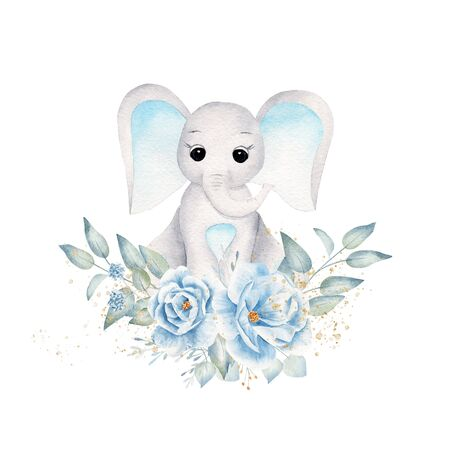 Baby elephant with blue flowers and leafage hand drawn raster illustration. Cute animal boy and bouquet isolated watercolor composition. Aquarelle elephant calf with botanical elements