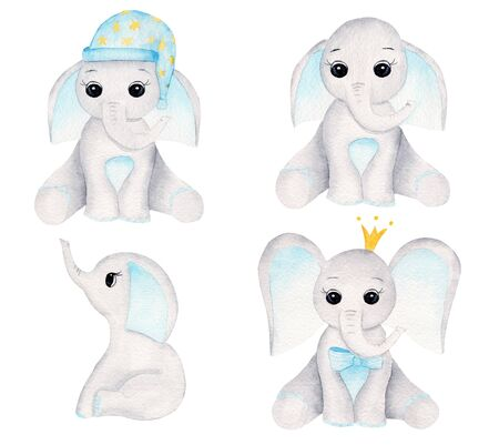 Elephant calves hand drawn raster illustrations set. Sitting animal boys watercolor compositions pack. Cute aquarelle baby elephants with crown and nightcap collection isolated on white background