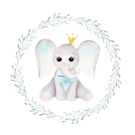 Prince baby elephant in floral frame hand drawn raster illustration. Animal boy and plant twigs with leaves isolated watercolor composition. Elephant calf with crown in aquarelle circular frame Reklamní fotografie