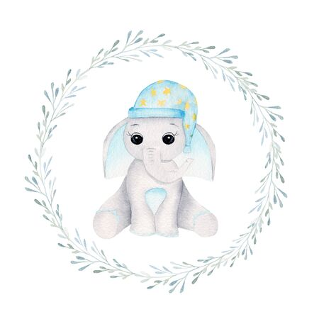 Sleepy baby elephant in floral frame hand drawn raster illustration. Animal boy and plant branches with leaves isolated watercolor composition. Elephant calf with nightcap in aquarelle circular frame