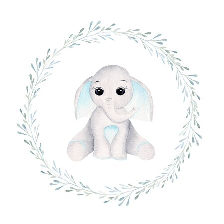 Baby elephant in herbal frame hand drawn raster illustration. Animal boy and branches with leaves isolated watercolor composition. Kid, elephant calf in aquarelle frame with floral elements