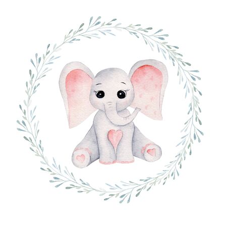 Baby elephant in floral frame hand drawn raster illustration. Animal girl and plant branches with leaves isolated watercolor composition. Elephant calf in aquarelle circular frame with floral elements Reklamní fotografie