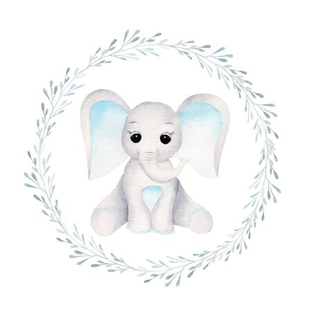 Baby elephant in floral frame front view hand drawn raster illustration. Animal boy and plant leaves isolated watercolor composition. Cute kid, elephant calf in aquarelle frame with herbal elements
