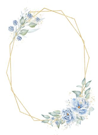 Oval angular frame with floral elements hand drawn raster illustration. Geometric shapes, decorative flax twigs with flowers isolated watercolor composition. Aquarelle golden botanical border